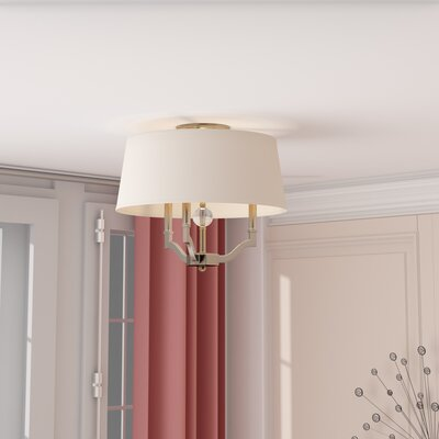 Edmondo 3-Light Semi Flush Mount Shade Color: Classic White, Finish: Pewter