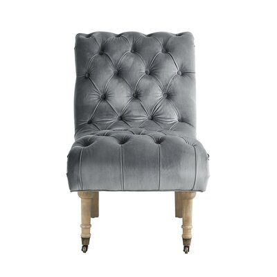 Jacobus Rolled Back Slipper Chair Upholstery: Gray