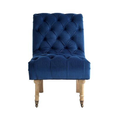 Jacobus Rolled Back Slipper Chair Upholstery: Navy