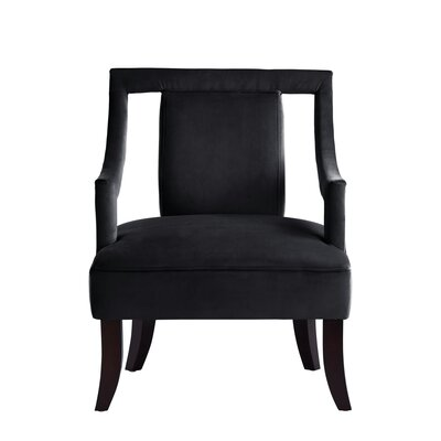 Keel Back Open Slipper Chair Upholstery: Black