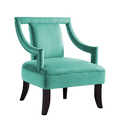 Keel Back Open Slipper Chair Upholstery: Teal Blue
