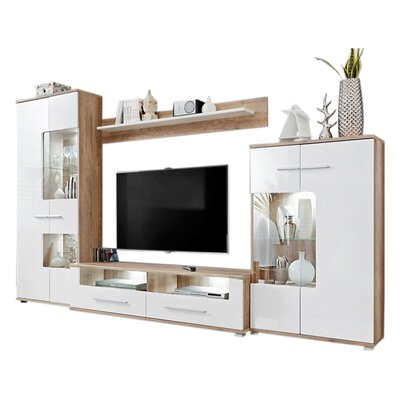 Caverly Entertainment Center with LED Lights 60 TV Stand