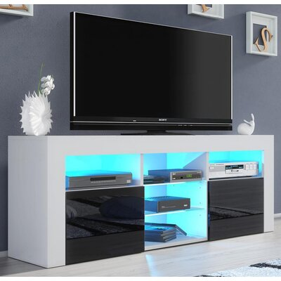 Ranallo Modern Body High Gloss Front 57 TV Stand Color: White/Black