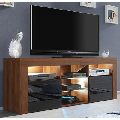 Ranallo Modern Body High Gloss Front 57 TV Stand Color: Walnut/Black