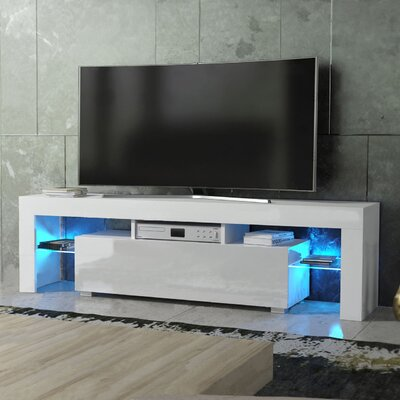 Ranallo Modern Body High Gloss Front LED 63 TV Stand Color: White