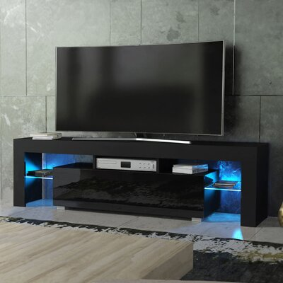 Ranallo Modern Body High Gloss Front LED 63 TV Stand Color: Black