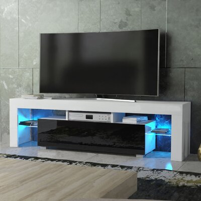 Ranallo Modern Body High Gloss Front LED 63 TV Stand Color: White/Black