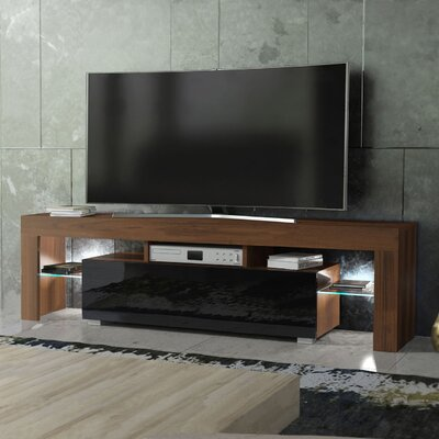 Ranallo Modern Body High Gloss Front LED 63 TV Stand Color: Walnut/Black