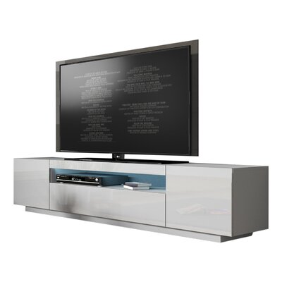 Bustillos Modern High Gloss Front LED 79 TV Stand Color: White