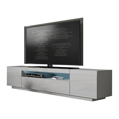 Bustillos Modern High Gloss Front LED 79 TV Stand Color: Light Gray