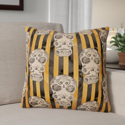 Watecolor Halloween Day of the Dead Head Outdoor Throw Pillow