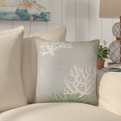 Martinique Coastal Cotton Throw Pillow Color: Green