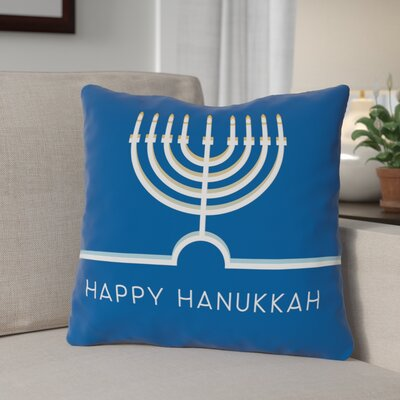 Happy Hanukkah Minimal Throw Pillow Size: 16 x 16