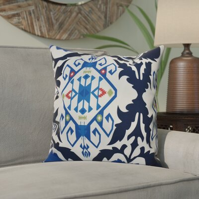 Meetinghouse Bombay Medallion Geometric Outdoor Throw Pillow Size: 20 H x 20 W, Color: Navy Blue