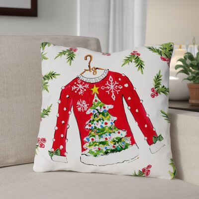 Tree Sweater Throw Pillow Size: 16