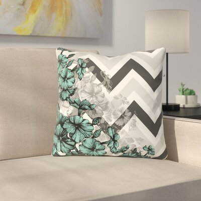 Santini Chevron Floral Throw Pillow Color: Turquoise, Size: 18 x 18