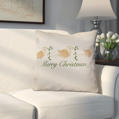 Decorative Holiday Word Print Throw Pillow Size: 26 H x 26 W, Color: Brown