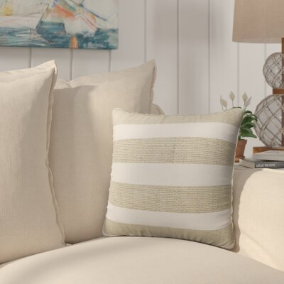 Melton Burlap Indoor/Outdoor Throw Pillow Size: 16 H x 16 W x 5 D, Color: Gold/ White