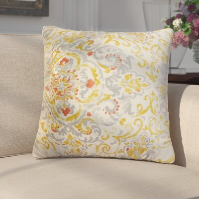 Annuziata Floral Cotton Throw Pillow Color: Gray/Yellow