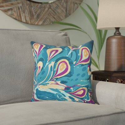 Willa Boho Splash Geometric Print Throw Pillow Size: 18 H x 18 W, Color: Teal