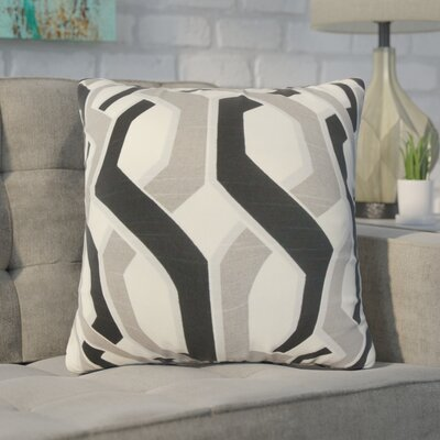 Nuttall Geometric Cotton Throw Pillow Color: Gray/Black
