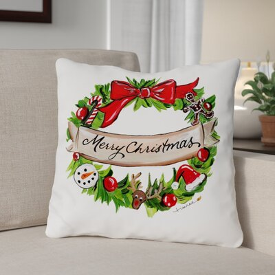 Merry Christmas Decorative Wreath Throw Pillow Size: 16 x 16