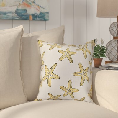 Cedarville Soft Starfish Geometric Print Outdoor Throw Pillow Size: 18 H x 18 W, Color: White/Gold
