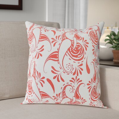 Klassen Indoor/Outdoor 100% Cotton Pillow Cover Color: White/Coral