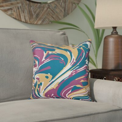 Willa Marble Blend Geometric Print Throw Pillow Size: 16 H x 16 W, Color: Purple