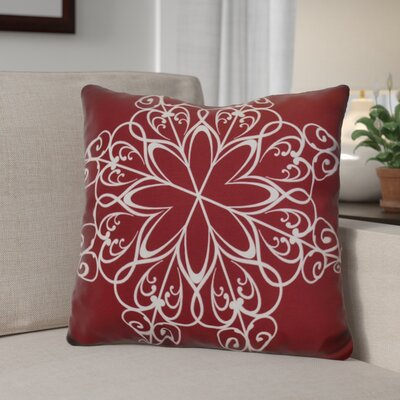 Decorative Snowflake Print Outdoor Throw Pillow Size: 20 H x 20 W, Color: Cranberry