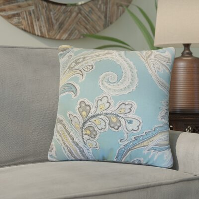 Giovanna Paisley Cotton Throw Pillow Color: Rain