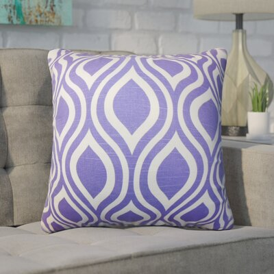 Wolff Geometric Cotton Throw Pillow Color: Purple