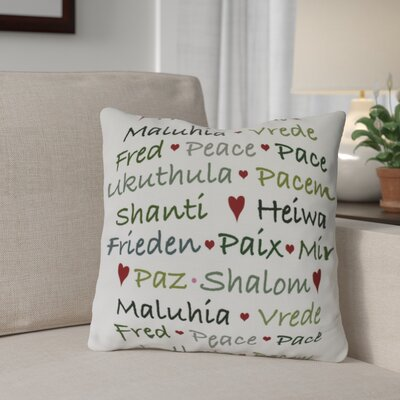 Words of Peace Outdoor Throw Pillow Size: 16 H x 16 W, Color: Green