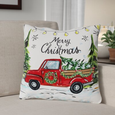 Merry Christmas Tree Farm Throw Pillow Size: 18 x 18