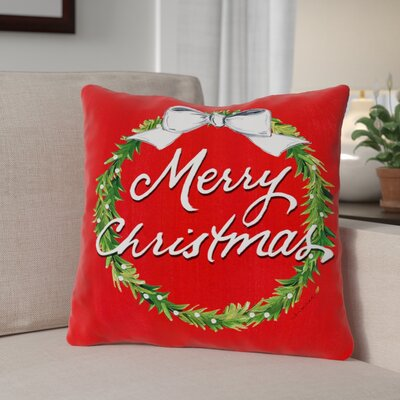 Merry Christmas Wreath Dot Back Throw Pillow Size: 16 x 16