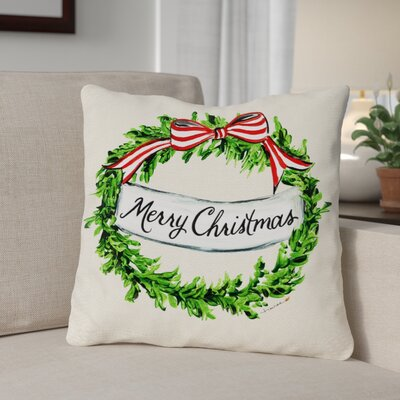 Merry Christmas Wreath Frame Throw Pillow Size: 16 x 16