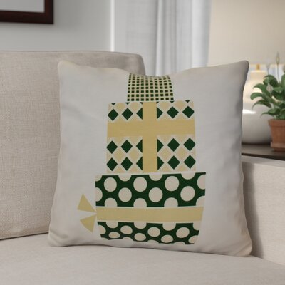 Christmas Decorative Holiday Geometric Print Square Throw Pillow Size: 16 H x 16 W, Color: Green/Yellow