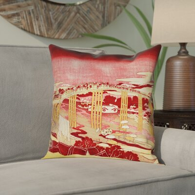 Enya Japanese Bridge Square Linen Pillow Cover Color: Red/Orange, Size: 16 x 16