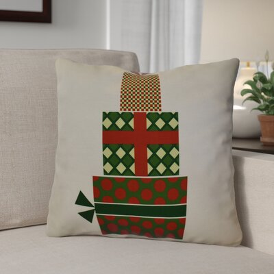 Christmas Decorative Holiday Geometric Print Square Throw Pillow Size: 16 H x 16 W, Color: Green