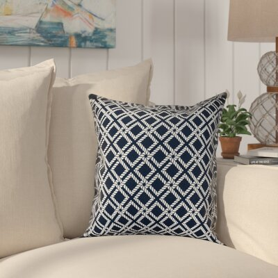 Hancock Rope Rigging Geometric Throw Pillow Size: 26 H x 26 W, Color: Navy Blue