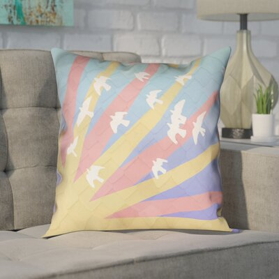 Enciso Birds and Sun Square Pillow Cover Color: Blue/Yellow/Orange, Size: 26 H x 26 W