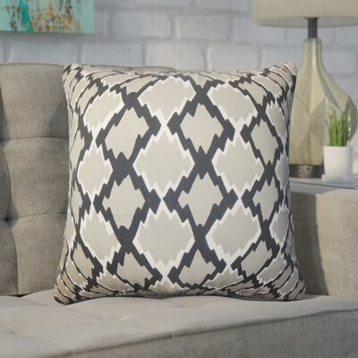 Geno Geometric Cotton Throw Pillow Color: Gray