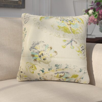Laurenza Floral Linen Throw Pillow Color: Tan