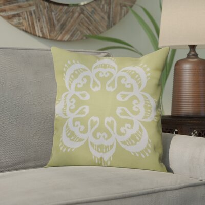 Meetinghouse Ikat Mandala Geometric Outdoor Throw Pillow Size: 18 H x 18 W, Color: Green