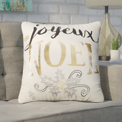 Buker Holiday Square Metallic 100% Cotton Throw Pillow