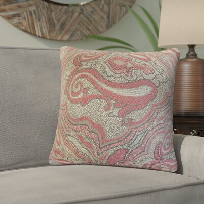 Zadie Damask Throw Pillow Color: Red