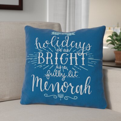 Fully Lit Menorah Throw Pillow Size: 16 x 16