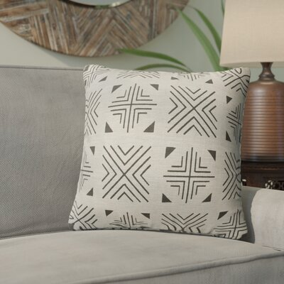 Bemelle Mud Cloth Throw Pillow Size: 18 H x 18 W, Color: Taupe/ Black