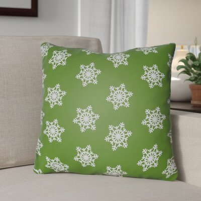 Snowflake Indoor/Outdoor Throw Pillow Size: 20 H x 20 W x 4 D, Color: Green /White