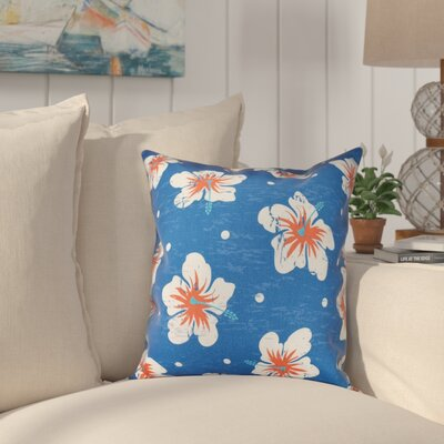 Pembrook Hibiscus Blooms Floral Throw Pillow Size: 16 H x 16 W, Color: Blue